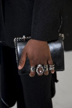 From the Autumn/Winter 2019 collection. Goth Jewelry, Afro Punk, Party Wear, Alexander Mcqueen, Cuff Bracelets, Personal Style, Satchel, Bling, Mens Fashion