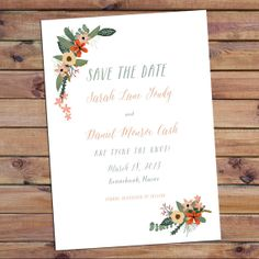 Save the Date card  The Sarah  calligraphy flowers by inoroutmedia, $72.50