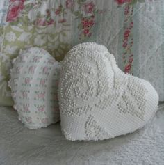 Antique Chenille Pillows | two vintage chenille heart pillows by stellabystar on Etsy
