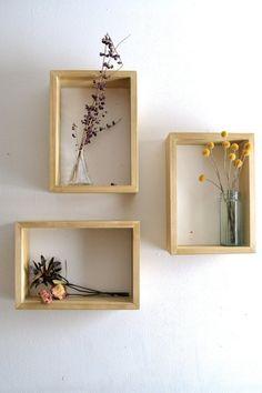 Box Shelves Decor - Rectangular Shadow Box Set of Diy Wand, Diy Wall Decor, Bedroom Decor, Home Decor, Wall Decorations, Corner Wall Decor, Diy Living Room Decor, Wood Bedroom, Geometric Shelves