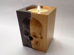 "Candle holder ""Skull"" for the tea candles. Natural wood."