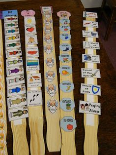 Use paint sticks, Velcro, & anything that has to be put in sequence or abc order.