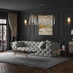 ✨ Tag someone who'd love this design! Dark Living Rooms, Living Room Sofa, Living Room Decor, Chesterfield Living Room, Classic Interior, Luxury Interior, Interior Design Living Room, Living Room Designs, Sofa Design