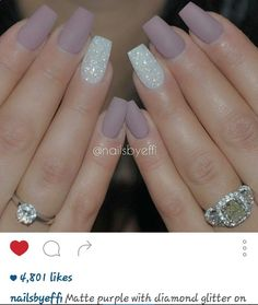 Matte purple with diamond glitter on ring finger nails. My next style for my nails.