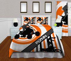 Orange Motocross Kids Bedding, Gray ATV Bedding, Motocross Comforter, Monogram Dirt Bike Bedding, Freestyle Tricks, King, Queen, Twin #154 by EloquentInnovations on Etsy