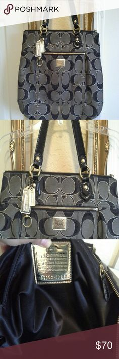 COACH poppy tote Nice and spacious, there are a few minor marks as seen in pic 1 & 4 (Front and back)maybe you know what to use to clean it, but otherwise in excellent condition! No tears.  front has outer zipper & 1 inside pocket w/ zipper & 2 nonzipper pockets for cell phone etc. Zippers work perfectly, Inside black liner and clean.  Ask any questions or additional pics before purchase. Coach Bags Totes