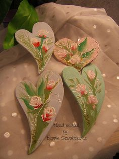 One-stroke roses painted on wooden hearts with magnets
