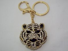 Fearless Tiger Purse Charm $10.49 Key Ring for Your Favorite Handbag Sparkling Crystals #CrystalJewelry