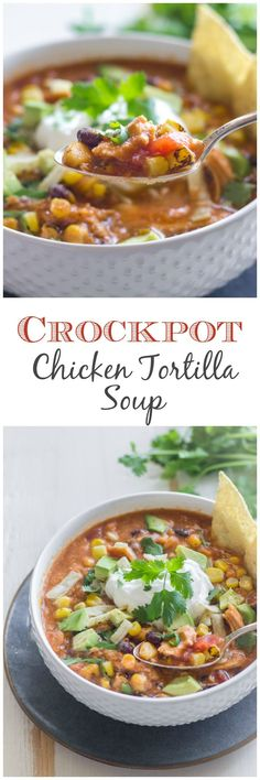 Easy and healthy chicken tortilla soup made in a crockpot.