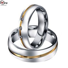 NFS Pair Gold silver Custom Alliance Stainless Steel Wedding Bands Couples Rings Sets For Him And Her Anillos De Boda Anel Ouro