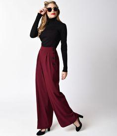 Burgundy Red High Waist Hubertine Wide Leg Pants   $70.00 AT http://Vintagedancer.co