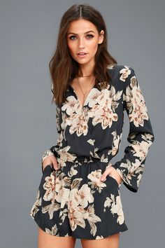 56f10d4c7f98 The Prairie Daydream Washed Navy Blue Floral Print Romper is right at home  among the wildflowers · Floral Romper Long SleeveFloral ...