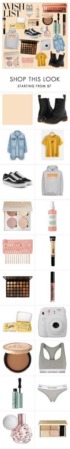 """""""#PolyPresents: Wish List"""" by arabella-ramirez ❤ liked on Polyvore featuring Dr. Martens, LE3NO, Vans, Mario Badescu Skin Care, ZOEVA, SkinCare, Charlotte Russe, Fujifilm, Too Faced Cosmetics and Calvin Klein Underwear"""