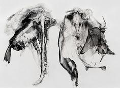 """Kick-Ass"" (Viscera 018)  2014 Ink & Graphite on Paper 70in x 55in, Patti Jordon"