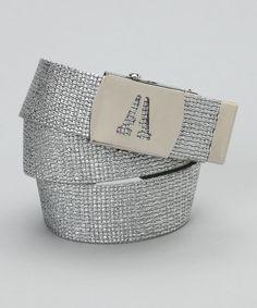 Silver Metallic Initial Buckle Belt
