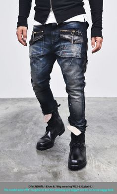 Bottoms :: Jeans :: Edge Zippered Cargo Baggy Skinny-Jeans 93 - Mens Fashion Clothing For An Attractive Guy Look