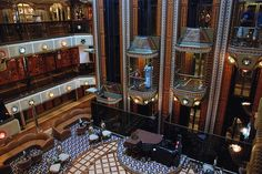 The Atrium on the Carnival Conquest .. These are the elevaters we took to our room.