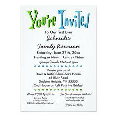 Partido da reunião de família do divertimento ou convite 12.7 x 17.78cm