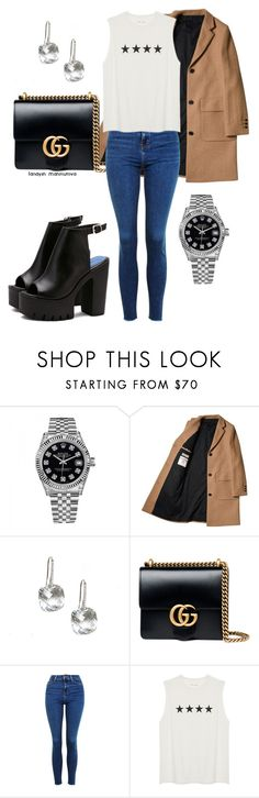 """""""классный образ"""" by landysh-1425 ❤ liked on Polyvore featuring Rolex, Gucci and Topshop"""