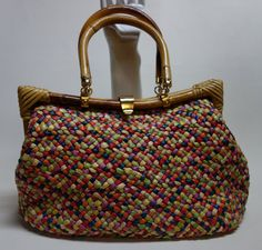 50s60s DELILL Colorful Woven Raffia Purse w/Bamboo by Vintageables, $179.00