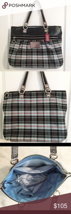 Coach Poppy Glam Tartan Plaid Tote Nearly new! Rarely used bag in great condition. Looks brand new and is free of any stains, marks, or signs of use. Coach Bags Totes