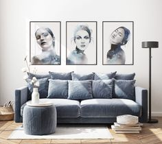 Beautiful art prints illustrated by Norwegian artist and designer Linda Skaret, available in several sizes. Living Room Interior, Scandinavian Style, Beautiful Ladies, Painting & Drawing, Love Seat, Packaging, Art Prints, Drawings, Illustration
