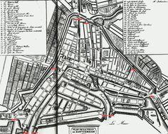 Poortenkaart1815. Op de volgende kaart uit 1815 kunnen we uiteindelijk 10 Stadspoorten ontdekken, sommige poorten waren in 1815 al een aantal keren herbouwd. Boven iedere rode streep stond in 1815 nog een poort. We telden er tien: Delfsche Poort Hofpoort Goudsche Poort Oostpoort Ooster Oude Hoofdpoort Wester Oude Hoofdpoort Ooster Nieuwe Hoofdpoort Wester Nieuwe Hoofdpoort Schiedamsche Poort Binnenwegsche Poort De Schiedamsche Poort is het meest linker rode streepje, onderaan de kaart.