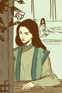 """""""Avatar Kyoshi in a quiet moment, without her weapons or makeup. I like Isaia's headcanon that Kyoshi had a female lover, so there she is in the background"""" by minuiko"""