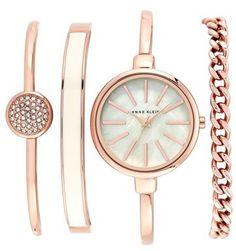 Women's Anne Klein Round Watch & Bangle Set, 32Mm | #accessories #fashion #style #glam #stylish #jewelry #gold #classy