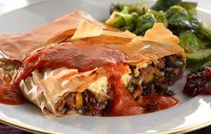 Festive Filo Pillow with Christmas Sauce