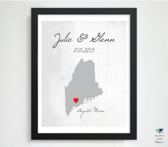 8x10 Gift for Newlyweds / Husband / Him // Engagement Gift // Valentines Wedding Location State Map // Parents 1st Anniversary Gift