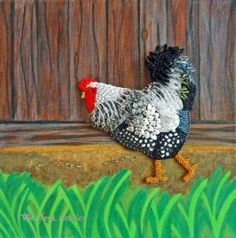 Spring chicken beaded painting on canvas bead embroidery etsy art rooster beadwork farm Ribbon Embroidery, Beaded Embroidery, Embroidery Ideas, Seed Bead Art, Seed Beads, Peacock Images, Needlepoint Stitches, Needlework, Bird Artwork