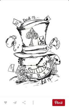 Alice im Wunderland Related Post Alice im Wunderland Tattoo Alice im Wunderland Tattoo Designs Alice in wonderland – mushroom Tattoo Drawings, Body Art Tattoos, Art Drawings, Tattoo Cat, Sketch Tattoo, Thigh Piece Tattoos, Tattoo Clock, Tatoos, Hp Tattoo