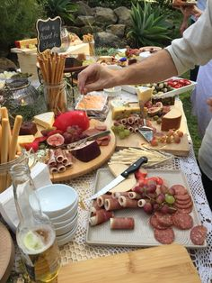 Cheese And Antipasto Table. Share Boards. Recycled Pallet Table. Backyard Engagement  Party Picnic