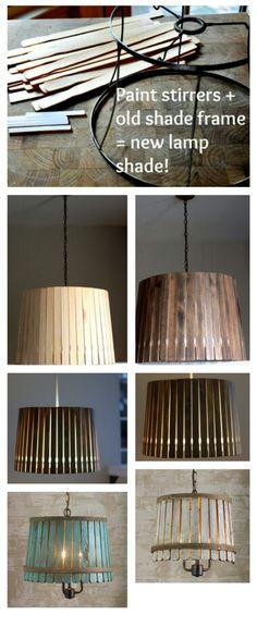 Creatieve DIY lampenkapjes van verfhoutjes. Erg leuk en lowbudget, tevens vrij simpel uit te voeren. Goed bedacht deze. ★★★★★
