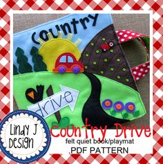 Country Drive QUIET BOOK Playmat .PDF Pattern by LindyJDesign