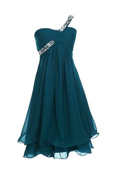 Sunvary Fashion One Shoulder Chiffon Homecoming Dresses Prom Gowns for Juniors- US Size 2- Dark Teal