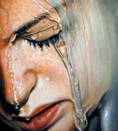Painting by Swedish artist Linnea Strid It's like a self portrait, you know those times when you're standing in the shower and your at your end and you can't tell whether it's tears or water running down your face? This is a beautiful depiction Portrait Art, Portraits, Woman Portrait, Hyper Realistic Paintings, Detailed Paintings, A Level Art, Photorealism, Amazing Art, Awesome