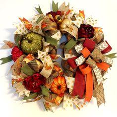HARVEST PUMPKIN WREATH, Decorative Autumn Wreath, Fall Burlap Mesh Wreath, Fall Decor, Front Door Wreaths, Thanksgiving Decor