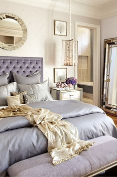Luxury Blue Lilac Princess Bedroom Idea