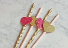 Decorative party straws with heart Straws, Hair Accessories, Party Ideas, Heart, Decor, Dekoration, Decoration, Hair Accessory, Ideas Party