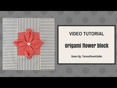 Origami flower quilt block tutorial - Turn a square into a block Fabric Manipulation Tutorial, Textile Manipulation, Manipulation Techniques, Origami Quilt, Fabric Origami, 4 Patch Quilt, Quilt Blocks, Flower Quilts, Fabric Flowers