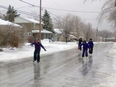 People skate on the streets after the weekend's ice storm in this photo taken… Ice Storm 1998, Twitter Image, Destruction, Quebec, Winter Wonderland, Ontario, Skate, Toronto, Canada