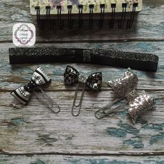 Black and Silver planner band and paper Clip by handmadefrillsuk
