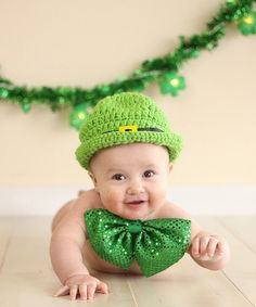 St. Patrick's Day Leprechaun Hat (Newborn-12 Months)- Newborn Hat- Baby Boy Hat- Baby Girl Hat- Infant St Pattys Day Hat- Photography Prop. $35.00, via Etsy.