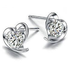 b8e445b34 925 Sterling Silver Heart Earrings Studs with Cubic Zirconia Crystal Earrings  for Women: Amazon.co.uk: Jewellery