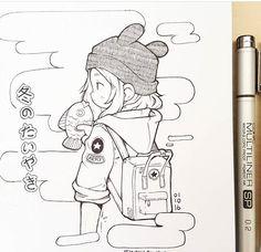 Inspiration on travel drawing Art Drawings Sketches, Cute Drawings, Pretty Art, Cute Art, Character Art, Character Design, Arte Sketchbook, Anime Sketch, Aesthetic Art