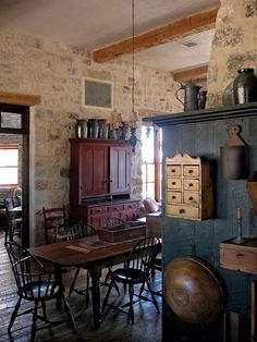 New kitchen made to look old. Antique accessories, such as pewter pitchers and wooden bowls, adorn the space.