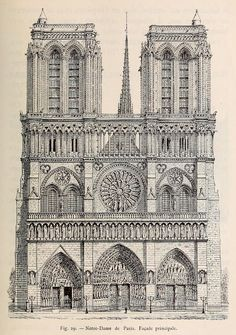 Front elevation of Notre Dame Cathedral, Paris