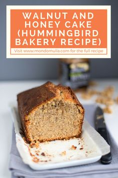 Walnut and honey cake, Hummingbird Bakery recipe. Perfect for breakfast or a midmorning snack with a cup of coffee. Cake Recipes From Scratch, Best Cake Recipes, Cupcake Recipes, Dessert Recipes, Favorite Recipes, Desserts, Cookbook Recipes, Bread Recipes, Soup Recipes